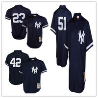 Wholesale Embroidery Collection - Men's New York Yankees Don Mattingly Mitchell & Ness Navy 1995 Authentic Cooperstown Collection Mesh Batting Practice Embroidery Jerseys