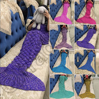 Wholesale Crochet Christmas Bag - Knitted Mermaid Tail Blanket 140*70cm For Kids Soft Warm Handmade Crochet Sleeping Bag Air Condition Blanket Christmas Gift OOA939