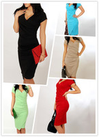 Wholesale Ladies Party Dresses Cheap - Summer Women Dress V Neck Short Sleeve Quality Cheap Clothes China Bodycon Party Vestidos Ladies Low Price Robe Casual Clothing