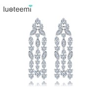 Wholesale White Opal Crystal Dangle - New Arrival Vintage High Quality Tassel Drop Earring For Women Luxury Jewelry CZ Crystal Long Dangle Brincos White-Gold Color LUOTEEMI
