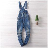 Wholesale Mens Denim Suspenders - Wholesale- Men Distressed Denim Overalls Mens Denim Joggers With Suspenders New 2017 Scratched Design Garment Washed Male Bib Jeans