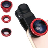 Wholesale Fish Pads - 3 in 1 Universal Clip Fish Eye Lens Wide Angle Macro Mobile Phone Camera Glass Lens Fisheye For Phone Pad With Retailpackage