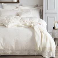 blanco bordado duvet rey al por mayor-Al por mayor- 100% ropa de cama de algodón egipcio conjunto blanco lujo bordado funda nórdica conjunto rey / cama de matrimonio / bedsheet bedline funda nordica