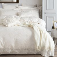 Wholesale Lace Cotton Twin Sheets - Wholesale- 100% Egyptian cotton Bedding set White luxury Embroidered duvet cover set King Queen bed sheet bedsheet bedline funda nordica