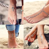 Wholesale Vintage Ball Feet - Vintage Silver Color Ankle Bracelet Foot Jewelry Turquoise Barefoot Sandals Anklet For Women Tornozeleira Chaine Cheville Bijoux