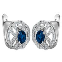 Wholesale Gold Blue Gem Earring - Wholesale- Hoop Earrings White gold-color Zircon CZ Gem Earrings Royal Blue Crystal Women Lady's Gift Big Promotion Factory price
