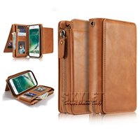 Wholesale Card Cash Wallet - For iPhone 7 PU Leather Wallet Case For Samsung 6 Retro Cash Pouch For iPhone 6 Card Slot Case with OPP Package