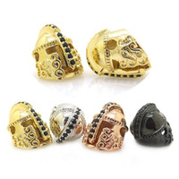 Wholesale Gold Pave Spacer - New Fashion Roman Warrior Helmet Beads,Micro Pave Black CZ Spartans Helmet Bead DIY Mens Bracelet Warrior Jewelry Spacer beads 13*14mm
