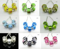 Wholesale Cube Letter Beads Red - 925 pure silver stamped thread core murano glass beads mix lampwork glass beads big hole Murano Glass Charm Bead For Pandora Bracelets