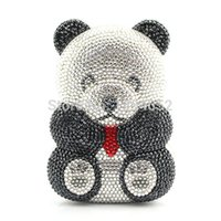 Wholesale Handmade Lady Bags - Wholesale- Handmade Ladies Crystal Cute Bear Evening Clutch Ladies Party Bag