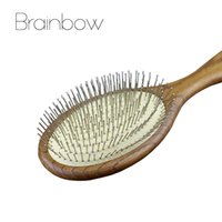 Vente en gros - 1pc Anti-statique Massager en bois Hair Brus Hair Styling Salon Natural Wooden Paddle Airbag Cushion Handle Brush with Steel Needle