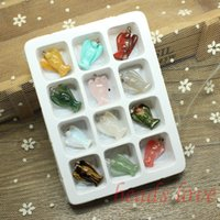 Wholesale 14k Gold Findings Wholesale - Wholesale- WHOLESALE 12pcs Mix Multi-style Carved Angel Natural Stone Charms Finding Pendants 19mm*23mm (W02746)
