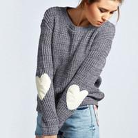 Wholesale Heart Sweater Womens - Wholesale-Autumn Winter New 2015 Women Knitwear Fashion Jumper Heart-shaped Spliced Knitted Sweaters Womens Long Sleeve Pullover Tops
