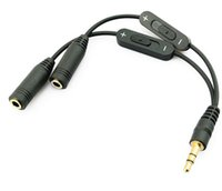 3.5mm maschio a 2 femmina stereo audio Y Splitter Adattatore cavo audio w / Controllo volume Cavi di prolunga audio