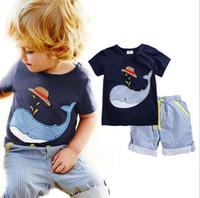Wholesale Boys Dinosaur Suit - Summer Boy INS Whale Hat Stripe Suit New Children Cartoon Dinosaur INS Short Sleeve T-shirt +Shorts 2 pcs Suit baby clothes TOP1609