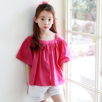 Wholesale Wholesale Unique T Shirt - New Korean Big Girls T-shirts Short Sleeve Off Shoulder Shirts Tee Pure Color Cotton Tops kids Unique Girl T Shirt Rose Red A7027