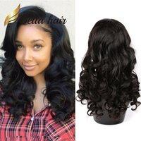 ondas grandes cabelo peruano venda por atacado-Onda grande Peruca de Cabelo Humano Peruca de Cabelo Loose Onda Molhada e Ondulada Moda Peruca Dianteira Do Laço
