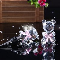 Wholesale Wholesale Cute Wine Stoppers - Cute Crystal Bear Wine Plugs Bottle Stopper Cork Beverage Closures Champagne Preservation Wedding Gift Bar Accessories ZA3105
