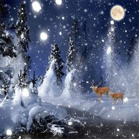 Wholesale Christmas Scenic Backdrops - 10x10ft Dark Blue Sky Moon Night Backdrop Photography Thick Winter Snow Covered Green Pine Trees Elks Photo Background Christmas