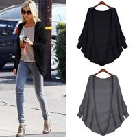 Wholesale Bat Wings Women Tops - Wholesale- 1PC Loose Cardigan Sweater Women Long Sleeve Bat-wing Sleeve Tops Coat