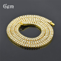 Wholesale pop line - gold plated Pop Hip Hop Necklaces For Men Double Line Rhinestone Link Chains Gold Luxury Street Jewelry Party Gifts Free Shipping