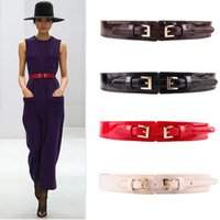 Venda por atacado - Lovely Twin Pin Clasp Buckle Belts for Women PU Leather 4 cores Corsage Corsage Trendy New Elastic Waistband femme Novo cinto! Bg-041