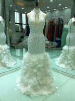 ingrosso abito da sposa pieghettato-Abito da sposa a sirena con strascico di strass di cristallo con perline 2019 Nuovi abiti da sposa Sweep Train Custom Made