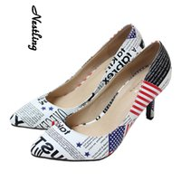 Wholesale High Heels Flag Pump - High Quality Fashion Women Ladies Pointed Toe High Heel Shoes American Flag Dress Shoes EOffice Lady Stiletto Heel Work Party Pumps