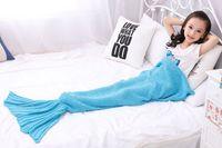 Wholesale Mermaid Mascot Costumes - mascot Spring Bedding Sofa Mermaid Blanket Wool Knitting Fish Style Little Tail Blankets Warm Sleeping Child Kids Princess Loves Gift