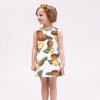 Wholesale Pineapple Clothes - W.L.MONSOON Princess Dress 2017 Brand Summer Girls Party Dress Children Pineapple Printed Dresses Kids Clothes Vestido Princesa 3-12Y