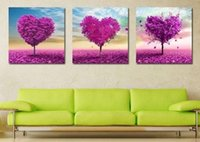 Wholesale Red Heart Canvas Wall Art - 3pcs set Unframed Red Heart Tree Oil Painting On Canvas Giclee Wall Art Painting Art Picture For Home Decor