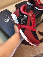 Wholesale White Platform Mens Sneakers - 2017 Hot Arrive White Sneaker-Platform Mens Shoes 201783 Top Stars Luxury Layer Leather of Rivet Skulls Casual Men Shoes EUR38-45