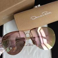Wholesale Oscar Renta - 2017 Linda Farrow & Oscar De La Renta Womens Designer Pink Gold Sunglasses brand new with Box