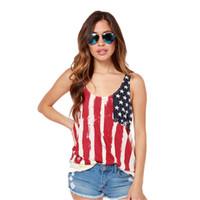 Wholesale Stylish Womens Shirt - Wholesale-Stylish summer Womens USA Flag Printed Stitching Chiffon Knitted Folds Back T-shirt Fresh Ladies Shirt Clothes