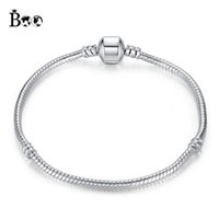 Wholesale Silver Bangles For Children - Silver Plated Bracelets Snake Chain Fit Luxury Brand Charm Beads for pandora Bangle Logo Bracelet Women Children Gift