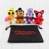 Wholesale Gift Bags Bear - Wholesale- 4pcs lot Five Nights At Freddy Plush Toy FNAF Foxy Mangle Freddy Fazbear Bear Rabbit Duck Stuffed Pendant Doll without Gift Bag