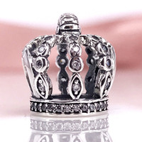 Wholesale Authentic Pandora Holiday - Authentic 925 Sterling Silver FAIRYTALE CROWN CHARM Fit DIY Pandora Bracelet And Necklace 792058CZ