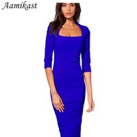 Wholesale Wholesale Half Pencils - Wholesale- Women Dresses Hot Sale New Fashion Half Sleeve Knee-length Bodycon Pencil Party Dresses Square Collar Sexy Tight Autumn Clothing