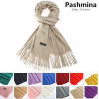 Wholesale Cashmere Large Scarf - High Quality 260g Unisex Pashmina Shawls Large Soft Silky Wraps Fringes Cashmere Scarf in Solid 23 Colors