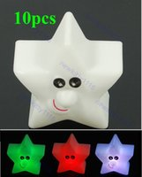 "Wholesale Nightlight Stars - Wholesale- A96 ""3pcs lot Cute 7-Colors Changing Star LED Night Light Decoration Candle Lamp Nightlight,holiday light #XY#"