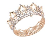 Wholesale Full Hairbands - Vintage Wedding Bridal Full Round Crown Tiara Crystal Rhinestone Headpiece Hair Accessories Gold Jewelry Headdress Party Prom Pageant Tiara