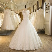 Wholesale China Wedding Dresses Real Photos - Wedding Dresses From China 2017 Ivory Tulle Appliqued Lace Wholesale Bandage Fashion Bridal Gowns Bride Dress Real Picture