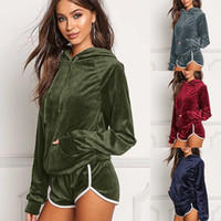 Wholesale Art Blouse - New Sexy Women Winter Tracksuits Velvet Long Sleeve Slim Hooded Blouse Hot Pant Outdoor Sports Two Piece Set Wear