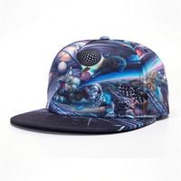 Wholesale Cappello Hip Hop - Wholesale- [NORTHWOOD] 2017 New 3D Print Outer Space Mens Cappello Hip Hop Cap Bone Snapback Hats Baseball Caps Size 54-59cm