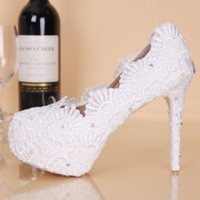 Wholesale Rhinestone Wedding Shoes For Cheap - 2017 New Lace High Heel Wedding For Bride Shoes Cheap Price 11 CM Heels Rhinestones Round Toe Bridal Party Shoes Pumps
