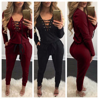 Wholesale Trousers For Womens - 2017 Spring Womens Rompers Jumpsuit Bandage dress Long Sleeved Deep V Neck Bodycon Jumpsuit with Wadded Casual Trousers for women