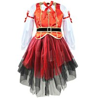 Wholesale child pirate costumes - Carnival Halloween Christmas Pirate Girls Party Cosplay Costume for Children Kids Dress + Hat Outfits Clothes