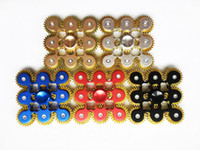 Wholesale toy gear wheels - Hot 9 Wheels Brass Fidget spinner metal Gadget 9 GEAR Hand Spinners 5 colors spinning Top Machine Finger Gyro Anxiety Killing Time Toys