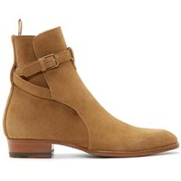 Half Boots stacked heel boots - New Hot Model Catwalk Men Boots Flats Stacked Heel Suede Anke Boots Side Zip Men Fashion Boots Plus Size Wholesales