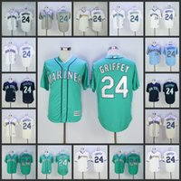 Wholesale Teal White Jersey - Seattle Mariners 24 Ken Griffey Jr 2016 Hall of fame white grey navy teal pullover throwback Baseball Jerseys Stitched Flex base jersey